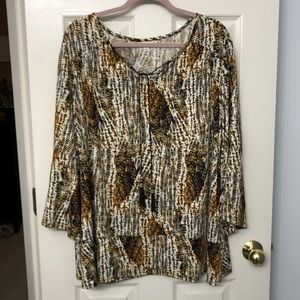 Free flowing drawstring collar tunic top